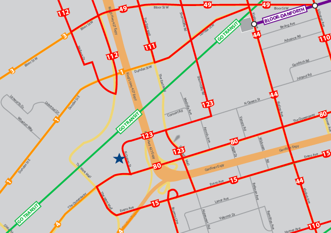 290-310 North Queen Tranist Access Map