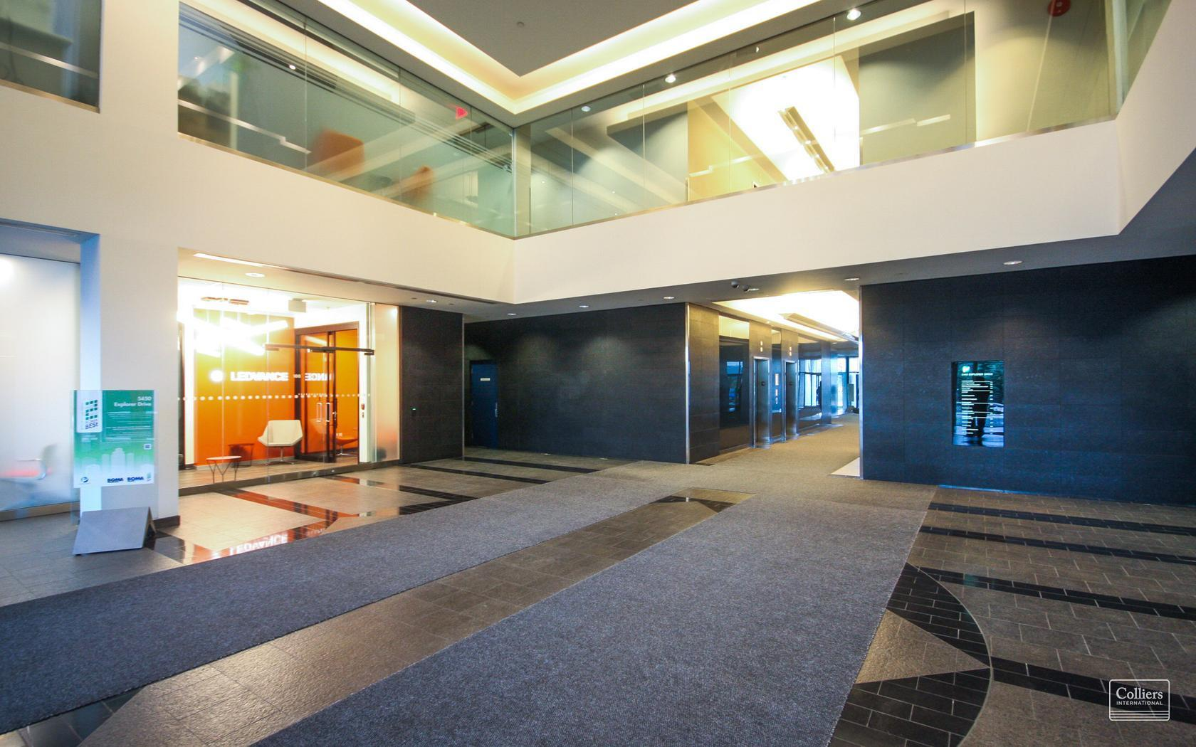 Lobby at 5450 Explorer Drive in the Airport Corporate Centre